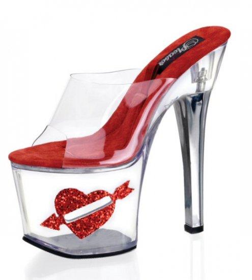 Women's 7 Inch Clear Hollow Platform Shoes with Clear Strap & Side Coin Slot with Heart Glitter