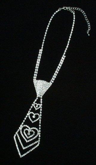 Rhinestone Tie Necklace with Hearts Design
