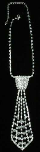 Rhinestone Tie Necklace with Studded Design