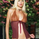 2 Piece Lace and Mesh Front Tie Babydoll Set