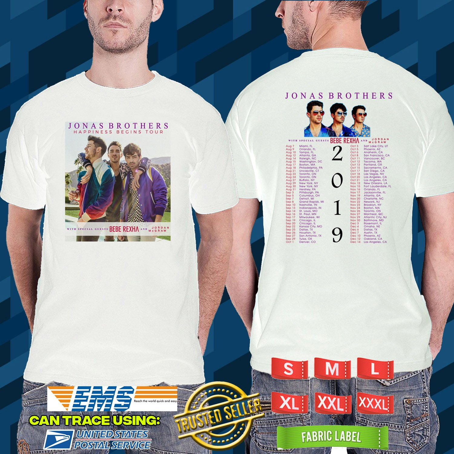d4a21da41 2019 LIVE JONAS BROTHERS HAPPINESS BAGINS TOUR WHITE TSHIRT W DATES CODE  RDF01