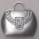 Signed JJ vintage jewelry brooch pin hand bag purse pewter color metal rhinestones