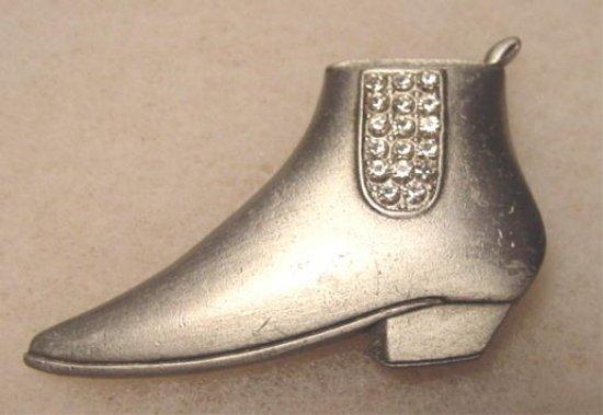 Signed JJ brooch pin vintage jewelry ladies shoe or boot rhinestones metal