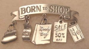 Born to Shop signed JJ pin brooch pewter color metal vintage jewelry charms, purse, goody bag, more