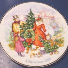 1990 Bringing Christmas Home Avon plate Victorian scene porcelain china 22K gold trim, box