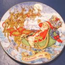 1993 Special Christmas Delivery Avon plate Santa Claus sleigh porcelain china 22K gold trim, box