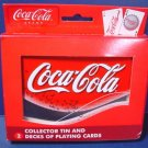 Coca-Cola Coke collector tin 2 decks playing cards in storage box
