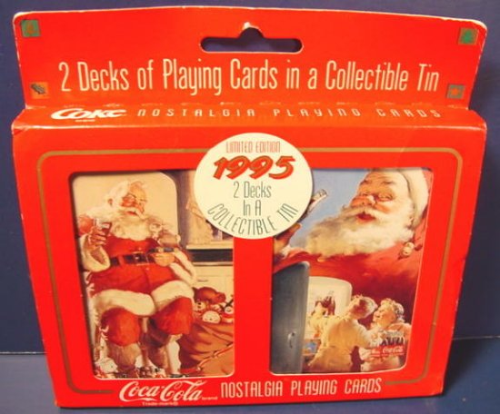 Coca-Cola 1995 Coke collector box 2 decks Santa Claus soda Christmas playing cards limited edition