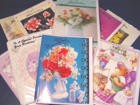 Musical Greeting Cards 20 large birthday, thinking of you, more card envelope - 1128CAC