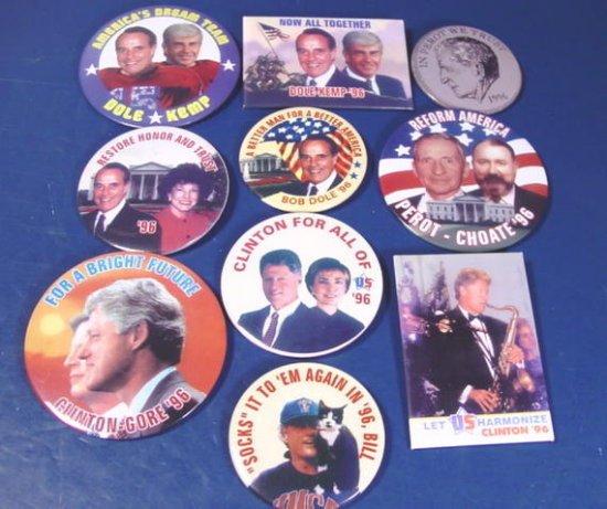 Clinton Gore Dole Kemp Perot 10 presidential political campaign 1996 buttons 12008BUU1