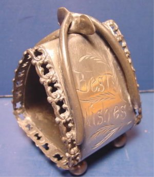 Victorian silverplate napkin ring wishbone figural antique silver plate large holder Best Wishes