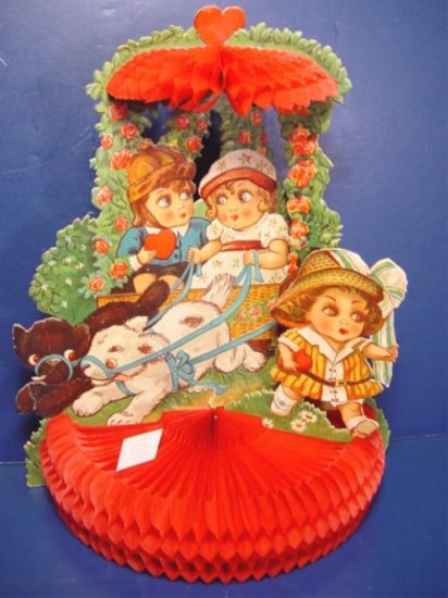 German Valentine die cut vintage big eyed children 3-D honeycomb Germany large greeting card