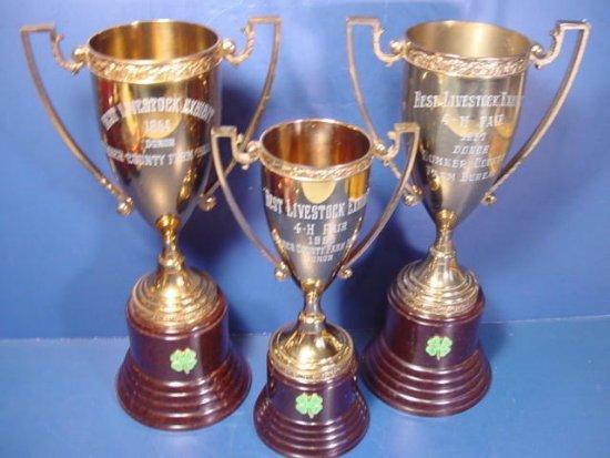 Bakelite Brass 3 trophies Sumner County Fair Best Livestock Exhibit 1954, 56, 57 loving cup