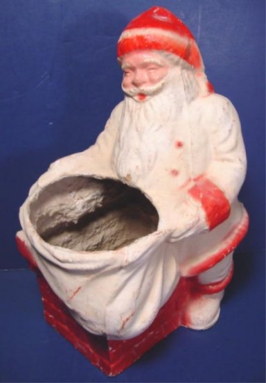 Santa Claus papermache vintage candy container large Christmas paper mache chimney and pack