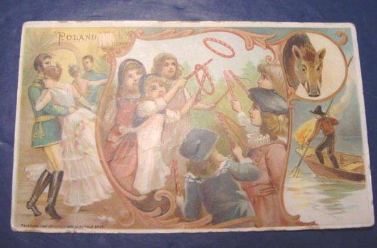 1893 Victorian antique advertising trade card Arbuckle Ariosa Coffee Poland children dancers