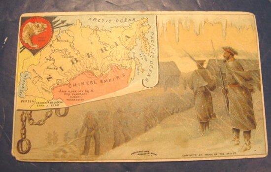 Arbuckle Ariosa Coffee trade card 1889 advertising antique Victorian Siberia map guards convicts