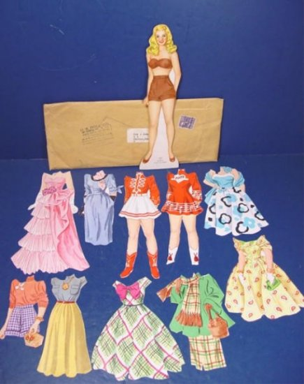 Mary Hartline W.P.C. paper doll vintage dolls outfits, Super Circus TV star 1954 Kelloggs premium