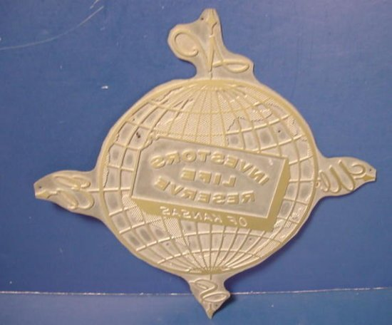 Brass metal world globe art deco printing plate vintage Investors Life Reserve Kansas printers type