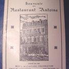 Souvenir Du Restaurant Antoine vintage historical booklet New Orleans, LA. Louisiana book 1940s