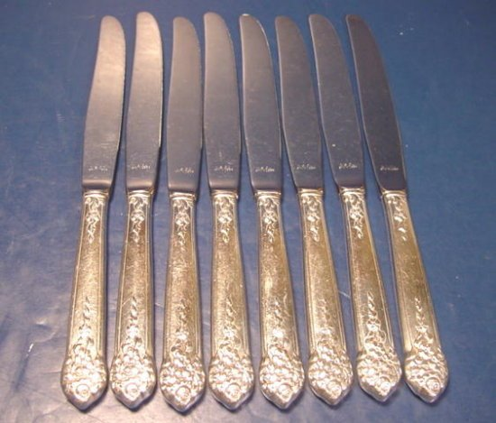 King Edward Moss Rose dinner knives 8 vintage 1949 silverplate knife silver plate flatware