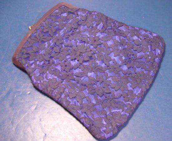 Royal blue satin cloth black lace wedding prom formal bridal clutch evening bag purse