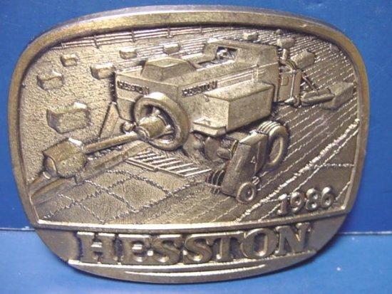 Hesston Corporation 1986 employee belt buckle farming swather brass Hesston Kansas Ks.