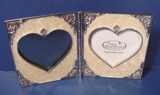 Swarovski crystals double heart shaped photo photograph frame engraveable Things Remembered