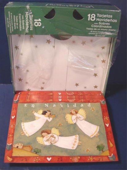 Spanish Christmas greeting cards En Navidad boxed set 18 Paper Magic Group Holiday Angels