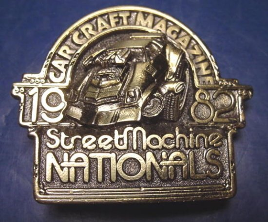 Hot Rod Auto belt buckle 1982 Car Craft Magazine street machine national automobile race cars