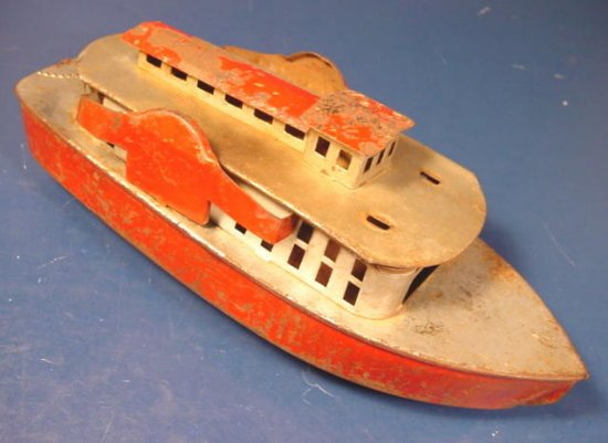 Tin Litho toy boat vintage river paddle wheel steam candle powered metal ship 1940s 1950s 9.5 inch