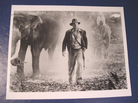 Temple of Doom IJ-TD-652 Indiana Jones Harrison Ford elephants photograph black white photo 1980s