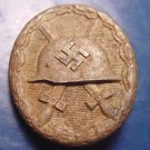 WWII German military Nazi wound badge vintage pin L/56 hollow back award steel swastika helmet medal