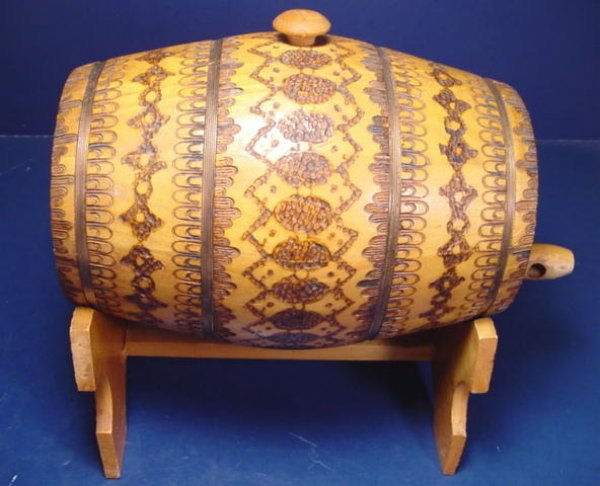 Vintage Pyrography whiskey barrel keg folk art wood burnt burned cask pyro Russian Russia