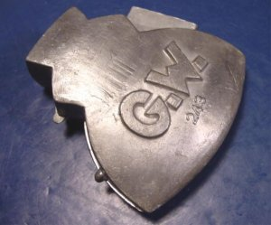 Antique pewter ice cream mold G.W. hatchet figural 243 George Washington metal kitchen mould hinged