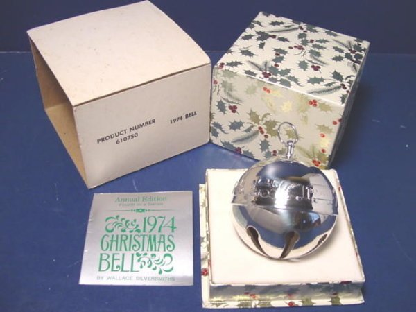 1974 Wallace Silver Silversmiths Sleigh Bell Ornament Christmas 4th annual silverplate train toys