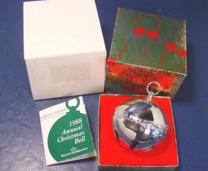 1988 Wallace Silversmiths silver Christmas sleigh bell bells balls ornament 18th annual silverplate