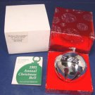 1991 Wallace silver Silversmiths Poinsettia silverplate Christmas ornament sleigh bell 21st annual