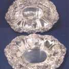 Pair Wallace St. Regis silverplate bonbon candy bowls # 9720 silver hollowware dish 8 inch