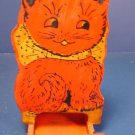 Folk art cat kitchen match box vintage holder primitive wooden kitty red painted wood