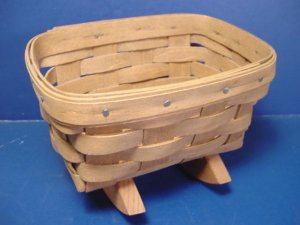 Longaberger handwoven basket vintage mini rocking baby doll cradle wooden 1980s hand crafted