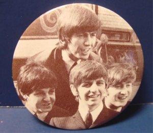 Beatles group photo vintage pinback button pin 2 1/4 inch John Paul George Ringo 1970s 1980s