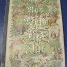 Antique 1938 German 124 animals color cigarette trade cards album Uus Wald Und Flur book