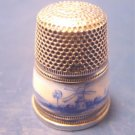 Sterling silver vintage sewing thimble 935 blue white enamel windmill enameled windmills