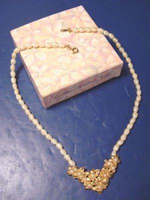 Golden Bouquet necklace Avon vintage 1988 faux fresh water pearls ivory color metal flowers, box