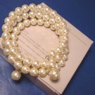 Avon Pearlustre Wrap bracelet 1986 vintage faux pearls cream ivory on stretchable wire, box