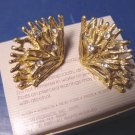 Avon Rhinestone Fan 1989 vintage clip on earrings goldtone metal crystal clear rhinestones, box