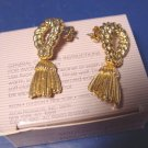 Avon Decorative Tassel pierced earrings vintage 1989 goldtone metal surgical steel posts with box
