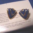 Abstract Style Avon pierced earrings vintage 1988 goldtone metal blue enamel shields with box