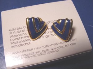 Abstract Style Avon pierced earrings vintage 1988 goldtone metal blue enamel shields with box