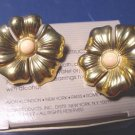 1987 Avon polished blossoms clip earrings metal goldtone pink center flowers clip-on
